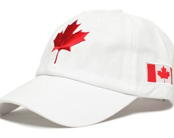 05063dbcf64 Canada Canadian Flag Embroidered Dad Hat One-Size Unisex Adult White