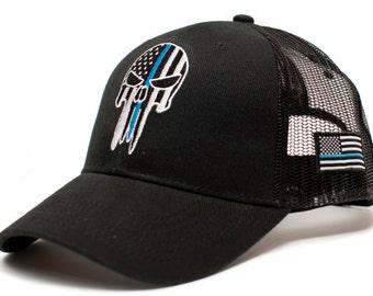 02af580844f Punisher Skull Thin Blue Line USA flag Posse Comitatus Adult One-Size Cap  Hat Black