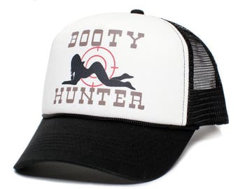 ec5e934e385 Booty Hunter™ Unisex-Adult Curved Bill One-Size Truckers Hat Cap Black White