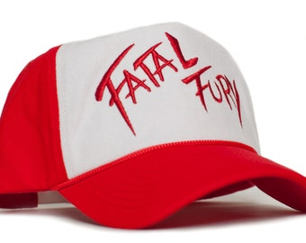 f241f82c008 Fatal Fury Embroidered Curved Cloth   Braid Unisex-Adult Hat -One-Size Red  White