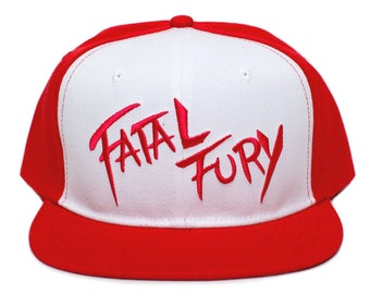Fatal Fury Flat Bill Embroidered Cloth Unisex-Adult Hat -One-Size Red White 690ecc39f8c0