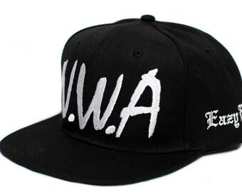 7f69a4718dac8 NWA New Eazy E N.W.A Vintage Flat Bill Cap Hat Snapback Unisex Adult Black