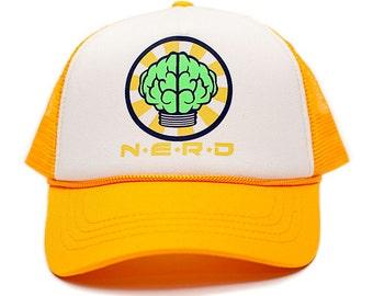 Custom N E R D NEPTUNES NERD Trucker Hat Mesh Hat Snapback cap Gold Curved bfb41bbbf4c