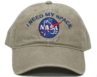 NASA I Need My Space Pigment Dye Embroidered Hat Cap Unisex Adult Khaki c786162d5b4d