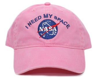 b80ef372264 NASA I Need My Space Pigment Dye Embroidered Hat Cap Unisex Adult Pink