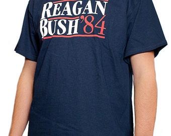 Reagan Bush 84 Vintage Style Campaign Conservative GOP Tank Top T-Shirt /& Sticker