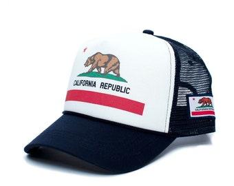 741e9c20 Custom California Republic Flag Cali Love Truckers Hat Cap Navy/White