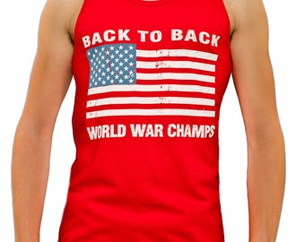 2f8cd2a2 Back To Back World War Champs Champions USA Flag Men's Tank Top S-3XL RED