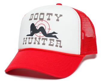 Booty Hunter™ Unisex-Adult Curved Bill One-Size Truckers Hat Cap Red White 98b79d6f2462