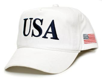 USA 45 White Trump Make America Great Again Embroidered hat One Size Adult Cap