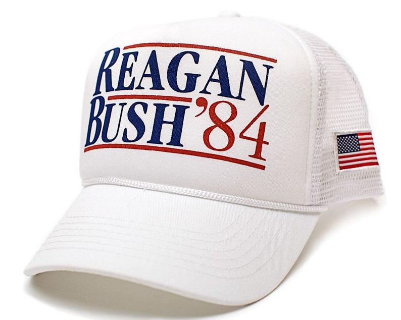 b6c03668f Custom Reagan Bush 84 Curved Hat Back To Back World War Champs Unisex Adult  White/White