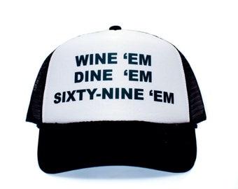WINE 'em Dine Sixty-nine 69 Dumb and Dumber Sea-bass Hat Cap Curved Bill Black/White