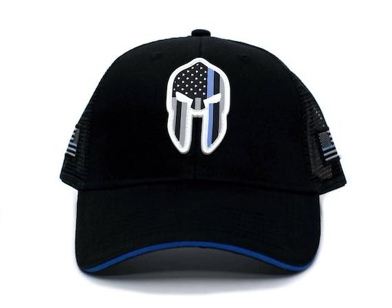 Thin Blue Line PVC SPARTAN HELMET Hat Punisher Flag Truckers  82fd36b7ee3