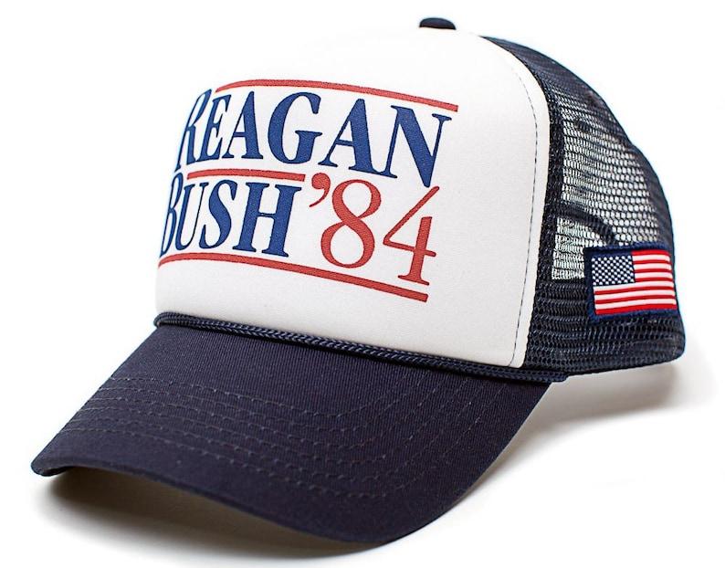 1e1afa683 Custom Reagan Bush 84 Curved Hat Back To Back World War Champs Unisex Adult  Navy/White