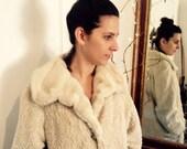 Vintage coat Faux cream Persian lamb 50s A-line dress coat by Item House, Tacoma Washington, USA