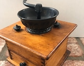 Vintage hand crank coffee grinder, cast iron coffee mill, dove tail wooden box, decorative and useful.