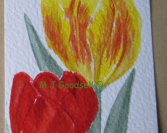 Red & Yellow Tulips - original ACEO watercolour painting