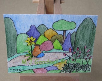 Gardens #1002 - ACEO acrylic miniature painting