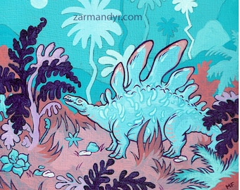 Wild Stegosaurus Art Print