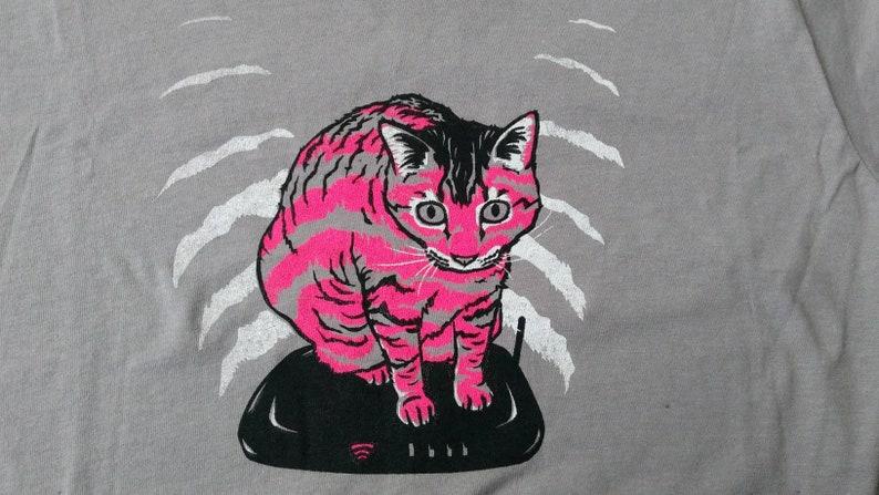 Wifi Cat Screenprinted Tee image 0