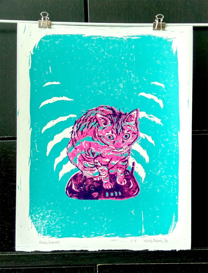 Wifi Cat Art Print image 0