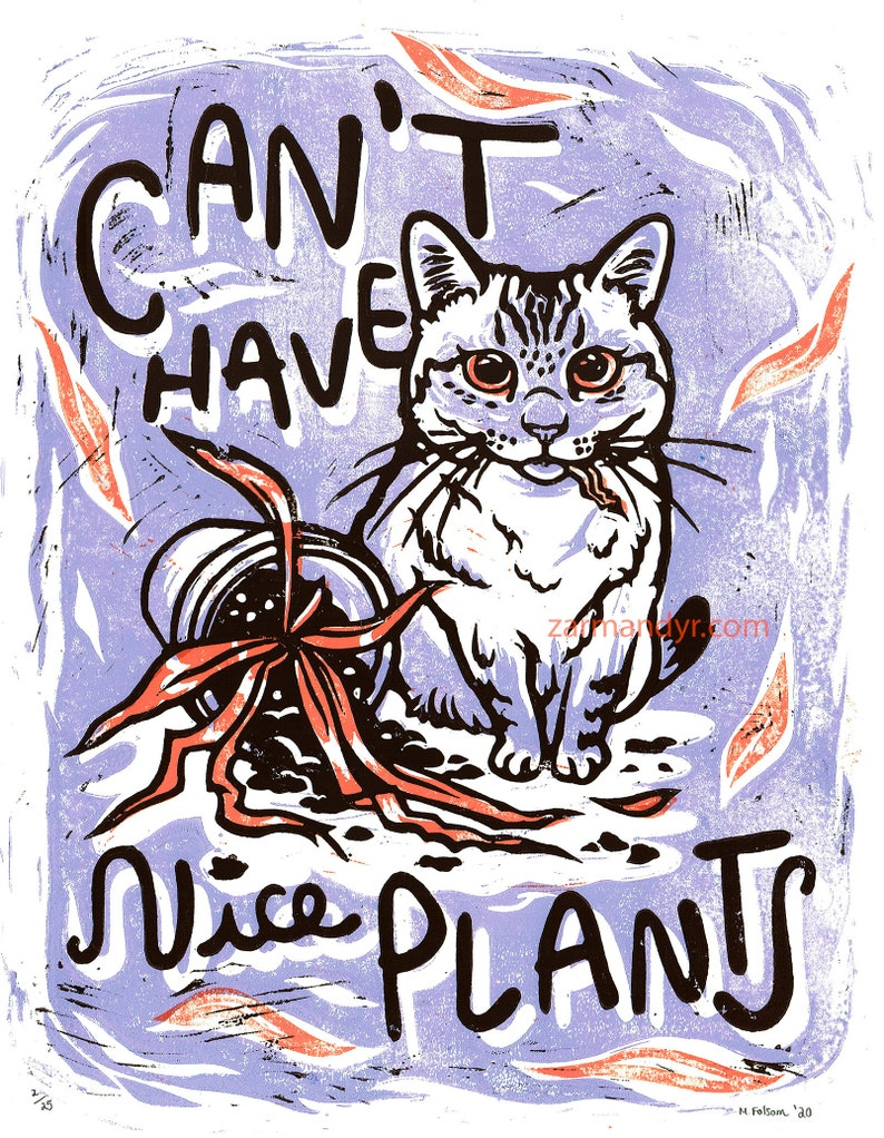 Can't Have Nice Plants Cat Art Print image 0