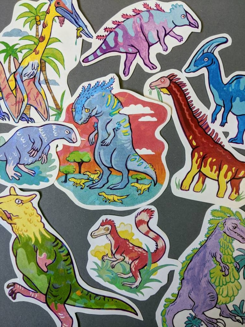 Assorted Holo Dino Paper Stickers The Full Set