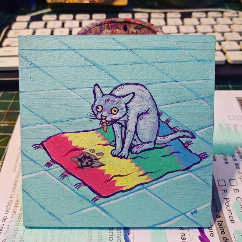 Cat Having a Hairball Mini Painting image 0