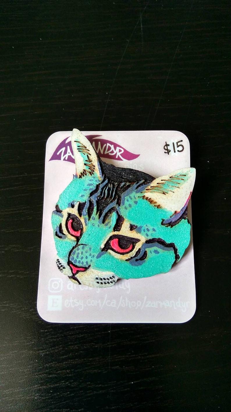 Pretzel Wooden Cat Pin image 0