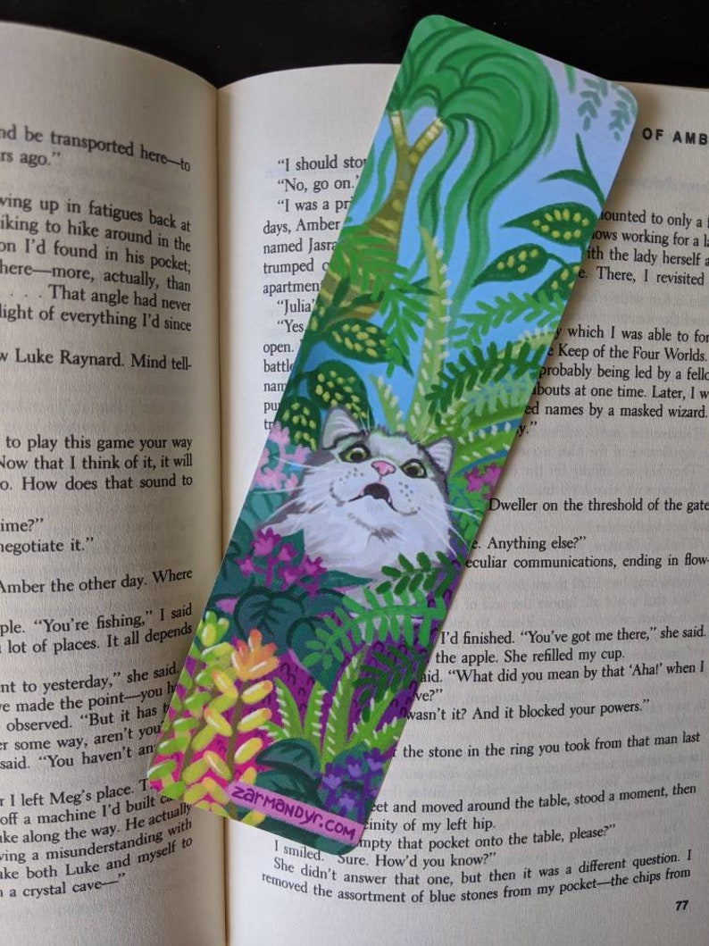 Cats in Plants Double Sided Bookmark image 1