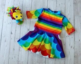 Twirly Skirt Dress.....Rainbow Waves