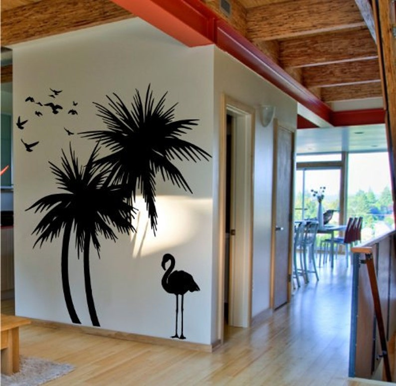 FREE SHIPPING! Palm Trees Wall Decal with Flamingo and Birds Wall Decal Deco Art Sticker Mural Self  Adhesive Vinyl