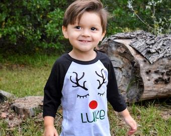 Boys Personalized Christmas Shirt, Reindeer Shirt with Name, Boys Christmas Raglan, Boys Reindeer Shirt, Kids Christmas Shirt, Kids Holiday