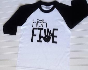 High Five Birthday Shirt 5th Boys Girls Kids Tee