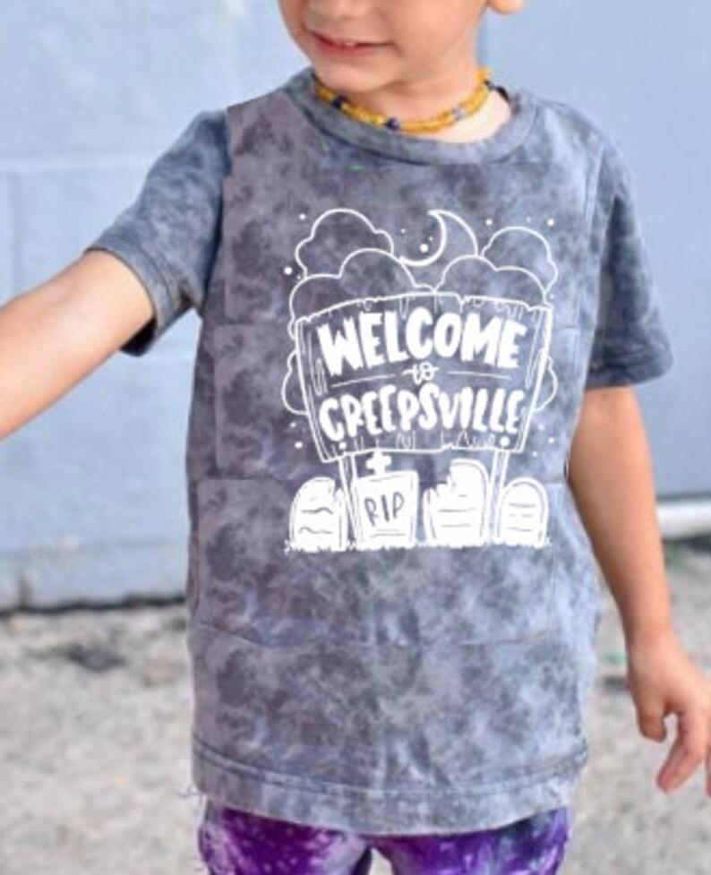 Classic Halloween Graveyard Tee Welcome to Creepsville Shirt image 0