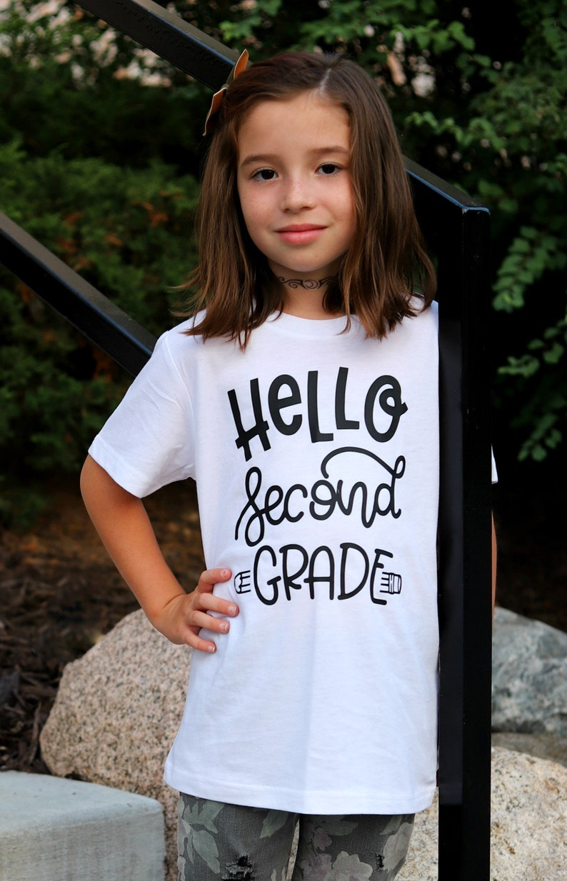 Hello Second Grade Kids Back to School Tee Boys Back To white/black design