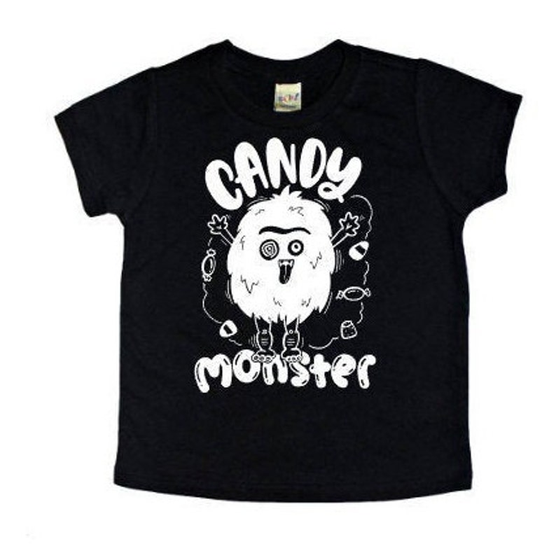 Kids Glow in the Dark Monster Shirt Candy Monster Tee image 0