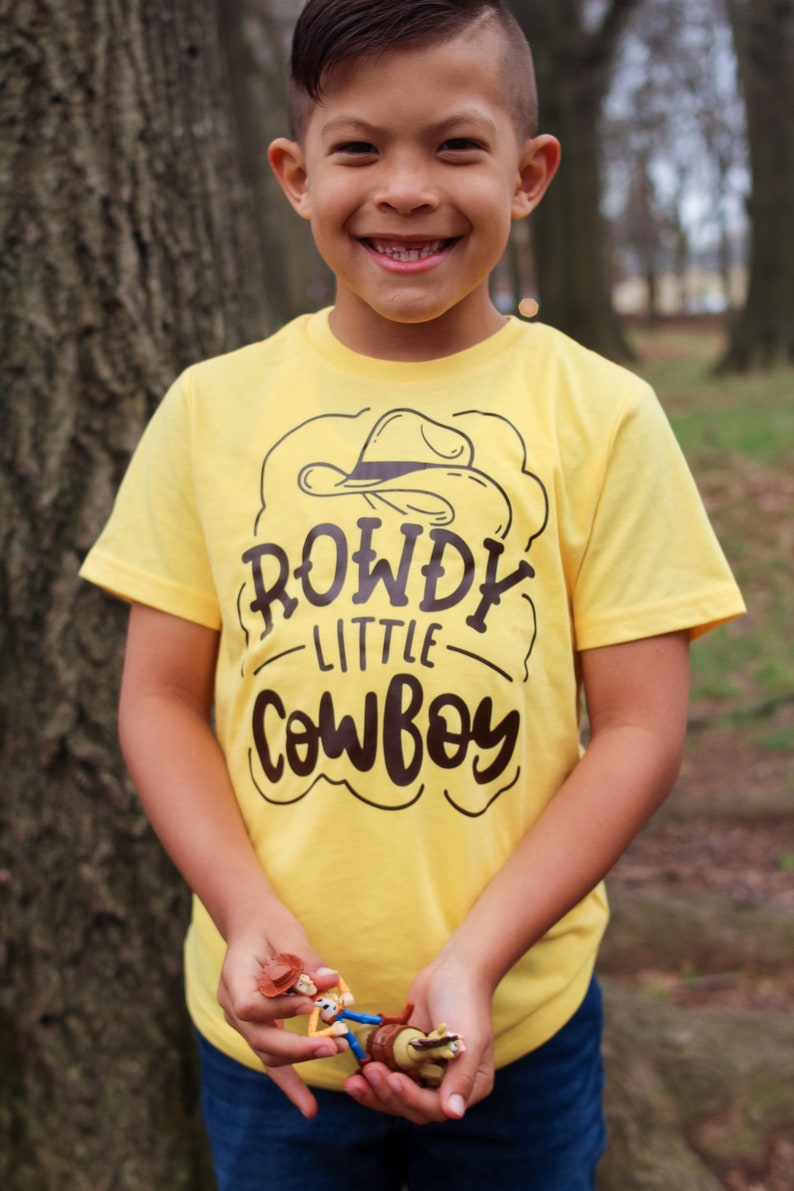 Rowdy Little Cowboy Kids Tee Boys Cowboy Hat Shirt Toddler yellow w/brown desig
