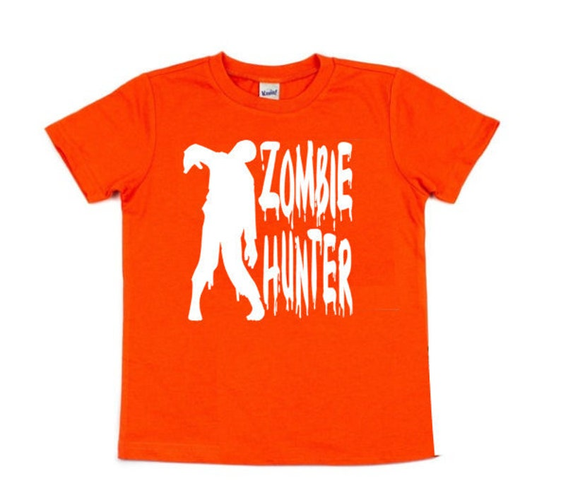 Kids Zombie Hunter Glow in the Dark Halloween Shirt Classic image 0