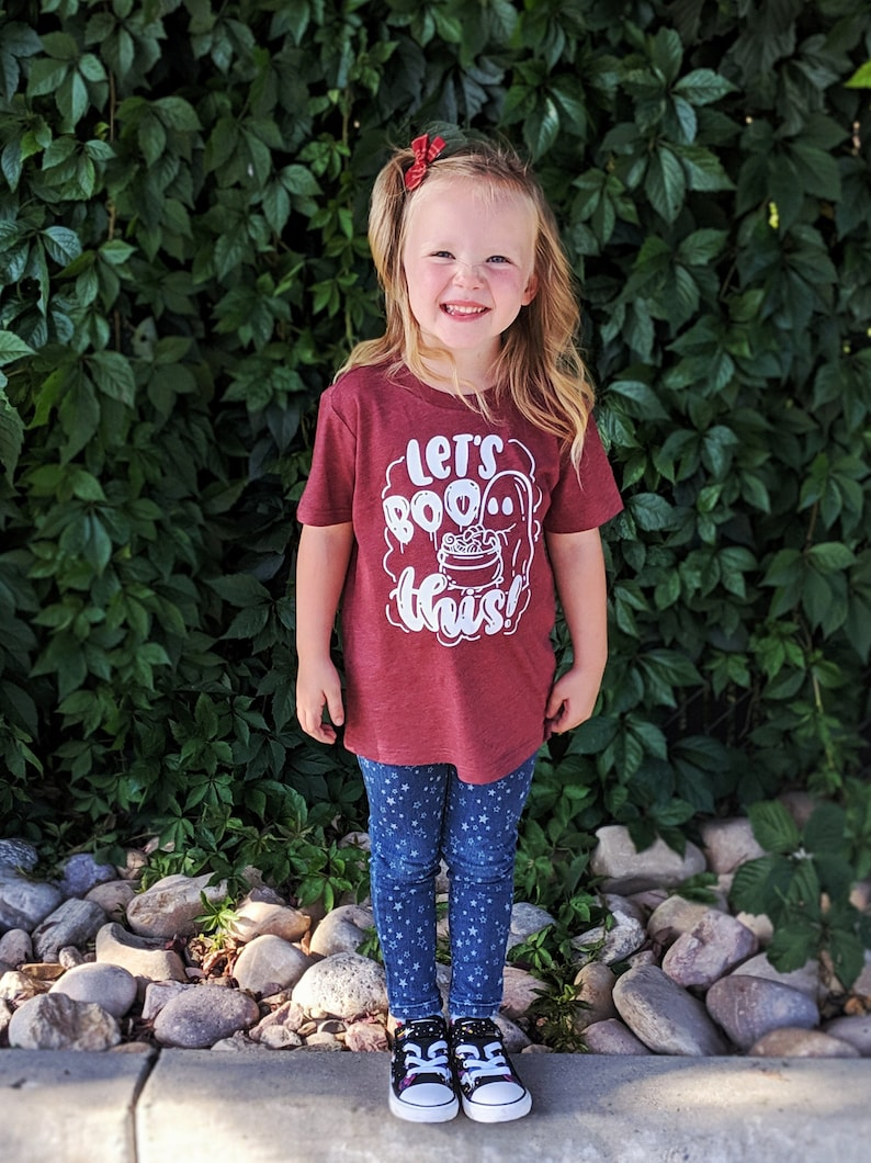 Let's Boo This Kids Halloween Shirt Toddler Ghost Shirt image 0
