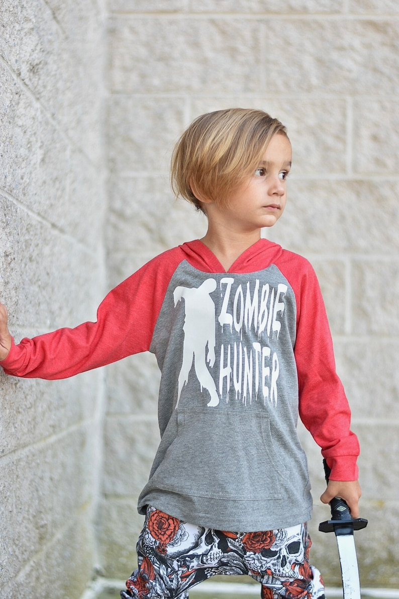 Zombie Hunter Halloween Hoodie Children Pullover with Hand image 0