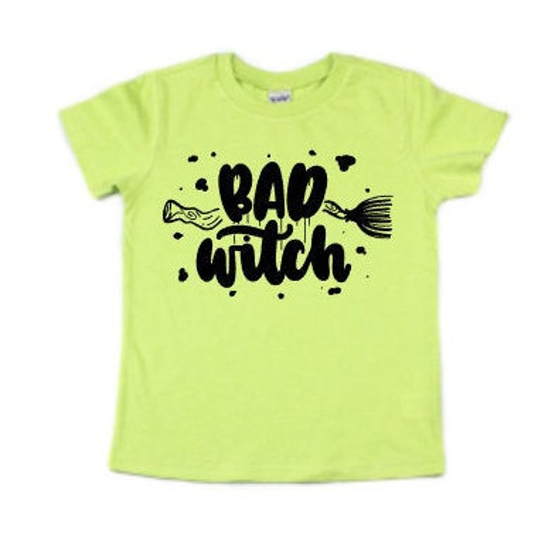 Bad Witch Kids Halloween Shirt Witches Broom Shirt Girls image 0