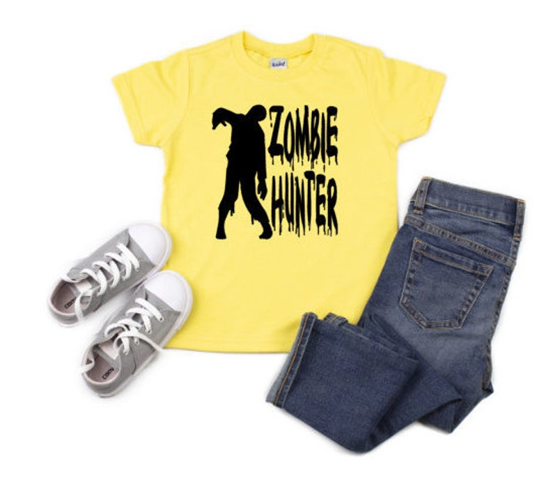 Kids Zombie Hunter Shirt Boys Halloween Zombie Shirt Classic image 0
