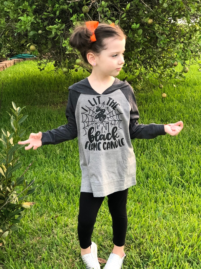 I Lit The Black Candle Kids Halloween Hoodie Witch Halloween image 0