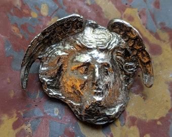 Medusa Pallas Athena shield STERLING PIN, museum jewelry replica, Greek Helenistic brooch, Peggy Yunque, Greek myth, Gorgon aegis sheild