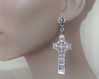 Irish earring Celtic, dangle earring, Cross earring, religious, Celtic jewelry, St Patrick, punk earring, Irish cross, Clonmacnoise