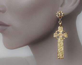 Scottish Cross earrings, Aberlemno cross, BoHo, Celtic cross, Punk, Pictish, Celtic jewelry, big gold dangle, post earring, knotwork earring