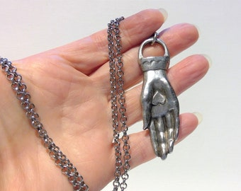 Hand pendant long chain, Irish Claddagh pendant, Celtic jewelry, friendship gift, retirement gift, St Patrick Day, Irish Heart and Hand