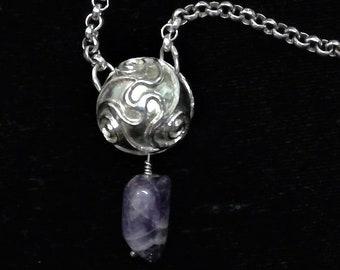 Celtic spiral necklace New Grange, Irish STERLING, silver amethyst stone, River Dance, Celtic museum, triskele spiral, Irish Christmas gift
