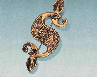 SOLID BRASS, Irish jewelry, Celtic brooch pin, Dragon brooch, Irish brooch, large brooch, Celtic jewelery, Viking, Celto-Roman Dragon BC-12
